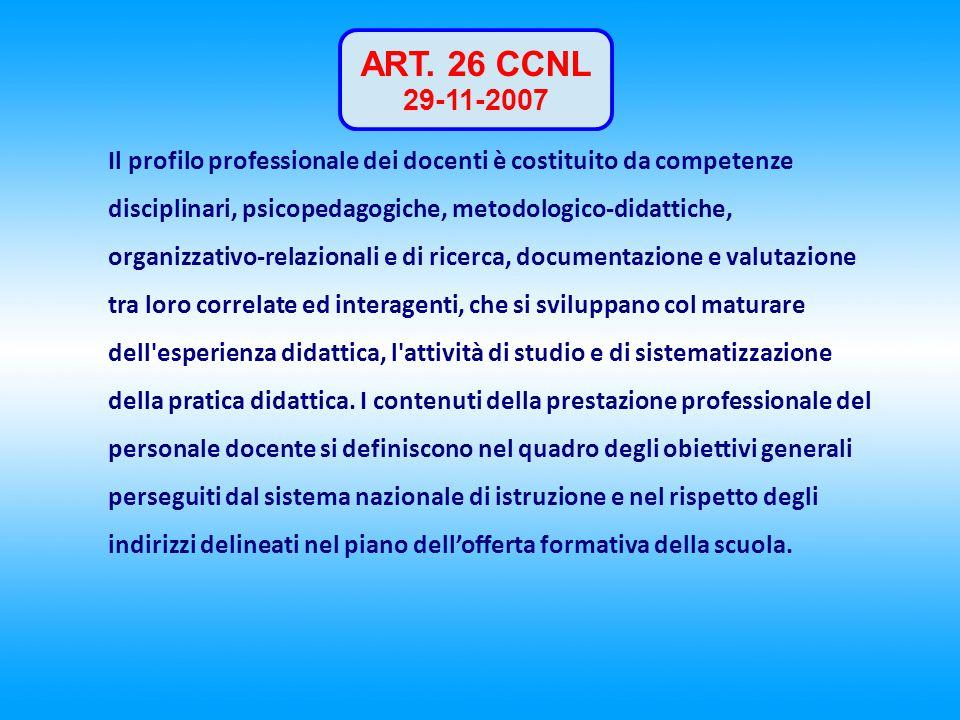 ART. 26 CCNL 29-11-2007 Il profilo professionale dei docenti è costituito da competenze disciplinari, psicopedagogiche, metodologico-didattiche, organ
