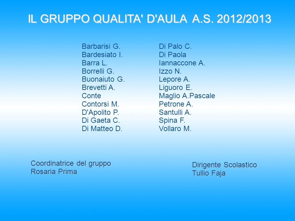 IL GRUPPO QUALITA' D'AULA A.S. 2012/2013 Barbarisi G. Bardesiato I. Barra L. Borrelli G. Buonaiuto G. Brevetti A. Conte Contorsi M. D'Apolito P. Di Ga