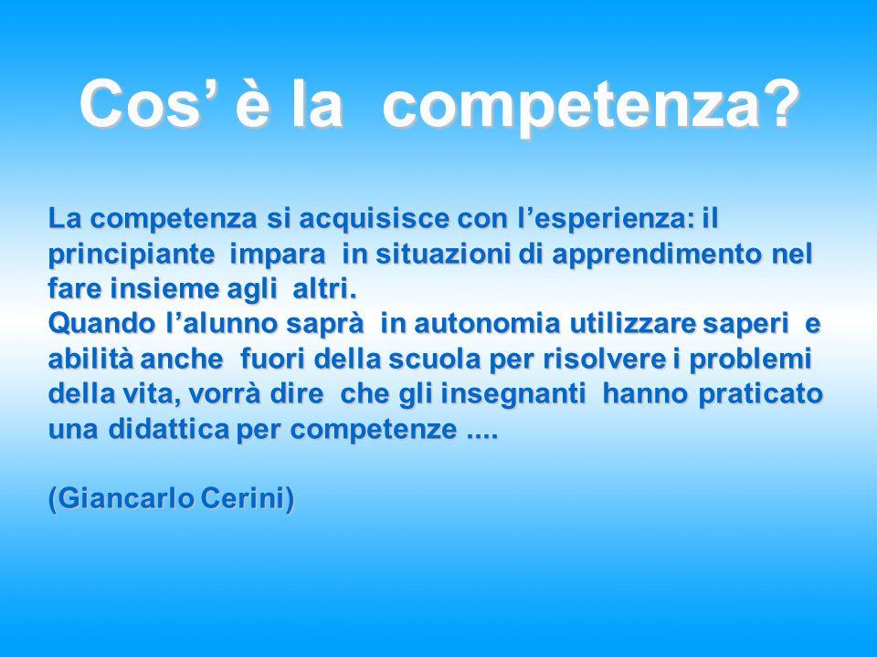 Cos' è la competenza? La competenza si acquisisce con l'esperienza: il principiante impara in situazioni di apprendimento nel fare insieme agli altri.