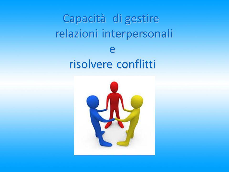 Capacità di gestire relazioni interpersonali relazioni interpersonali e risolvere conflitti risolvere conflitti