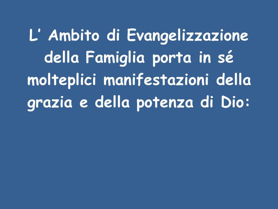 L' Ambito di Evangelizzazione della Famiglia porta in sé molteplici manifestazioni della grazia e della potenza di Dio: