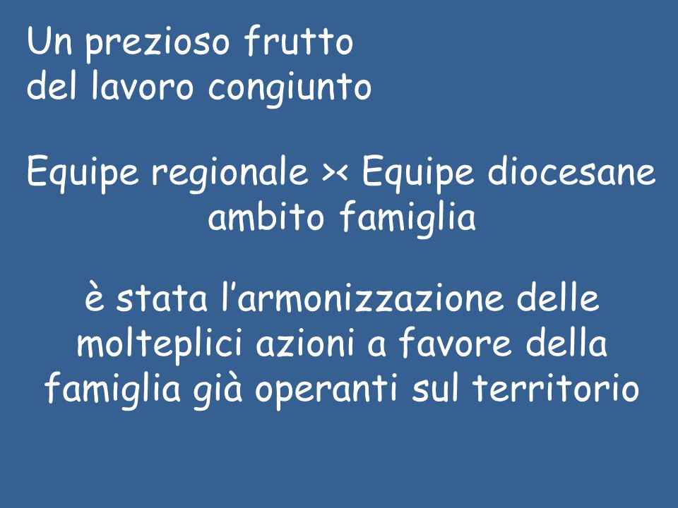 Un prezioso frutto del lavoro congiunto Equipe regionale >< Equipe diocesane ambito famiglia è stata l'armonizzazione delle molteplici azioni a favore della famiglia già operanti sul territorio
