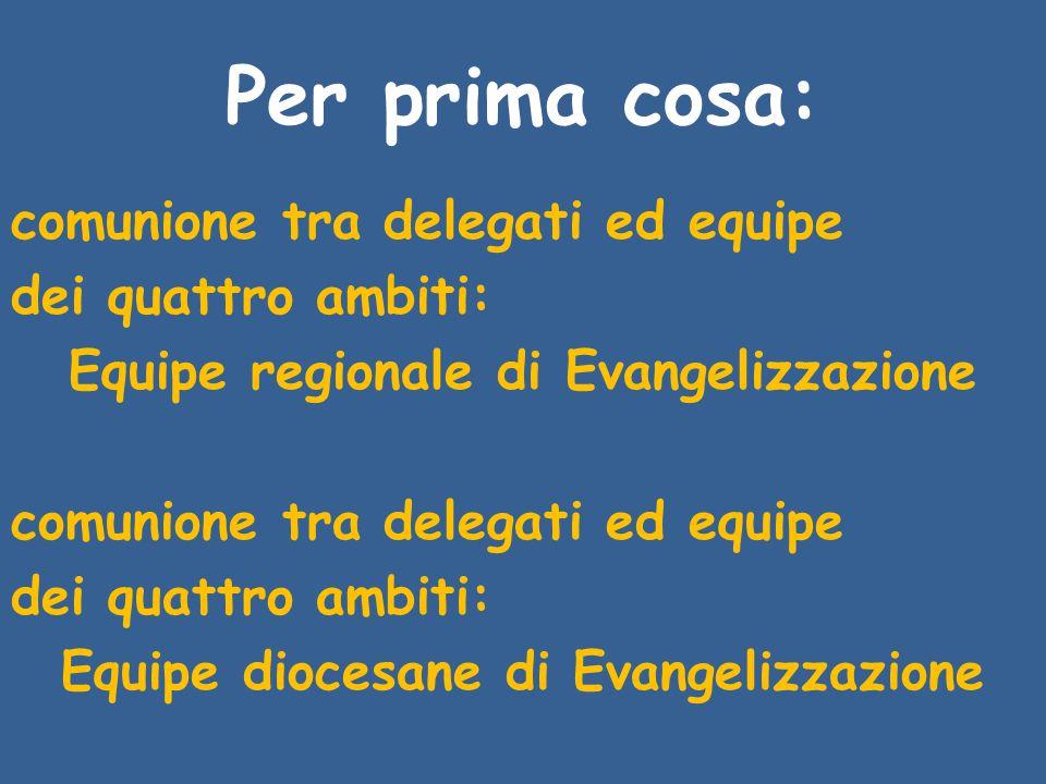 Per prima cosa: comunione tra delegati ed equipe dei quattro ambiti: Equipe regionale di Evangelizzazione comunione tra delegati ed equipe dei quattro ambiti: Equipe diocesane di Evangelizzazione