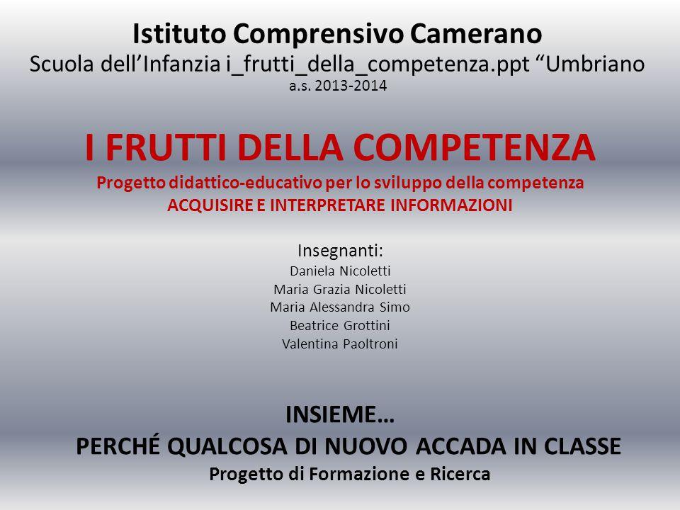 I FRUTTI DELLA COMPETENZA Progetto didattico-educativo per lo sviluppo della competenza ACQUISIRE E INTERPRETARE INFORMAZIONI Insegnanti: Daniela Nico