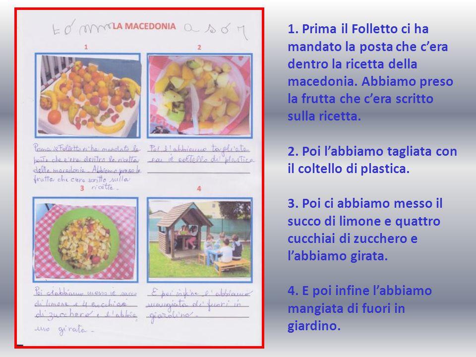 1. Prima il Folletto ci ha mandato la posta che c'era dentro la ricetta della macedonia. Abbiamo preso la frutta che c'era scritto sulla ricetta. 2. P
