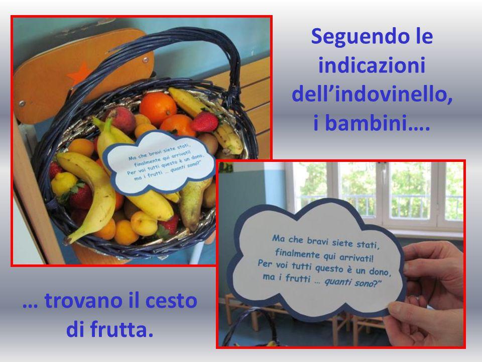 Seguendo le indicazioni dell'indovinello, i bambini…. … trovano il cesto di frutta.