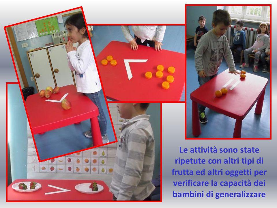 Le attività sono state ripetute con altri tipi di frutta ed altri oggetti per verificare la capacità dei bambini di generalizzare