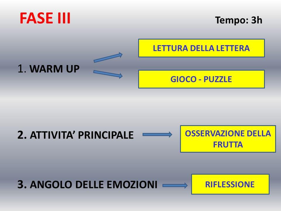 FASE III Tempo: 3h 1.WARM UP 2. ATTIVITA' PRINCIPALE 3.
