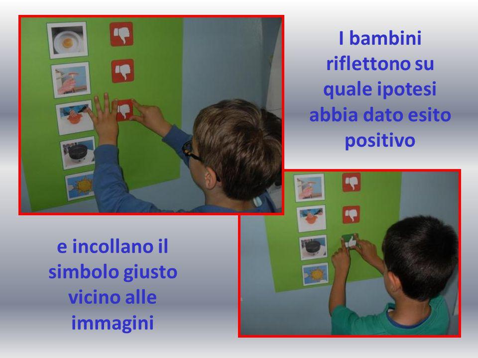I bambini riflettono su quale ipotesi abbia dato esito positivo e incollano il simbolo giusto vicino alle immagini