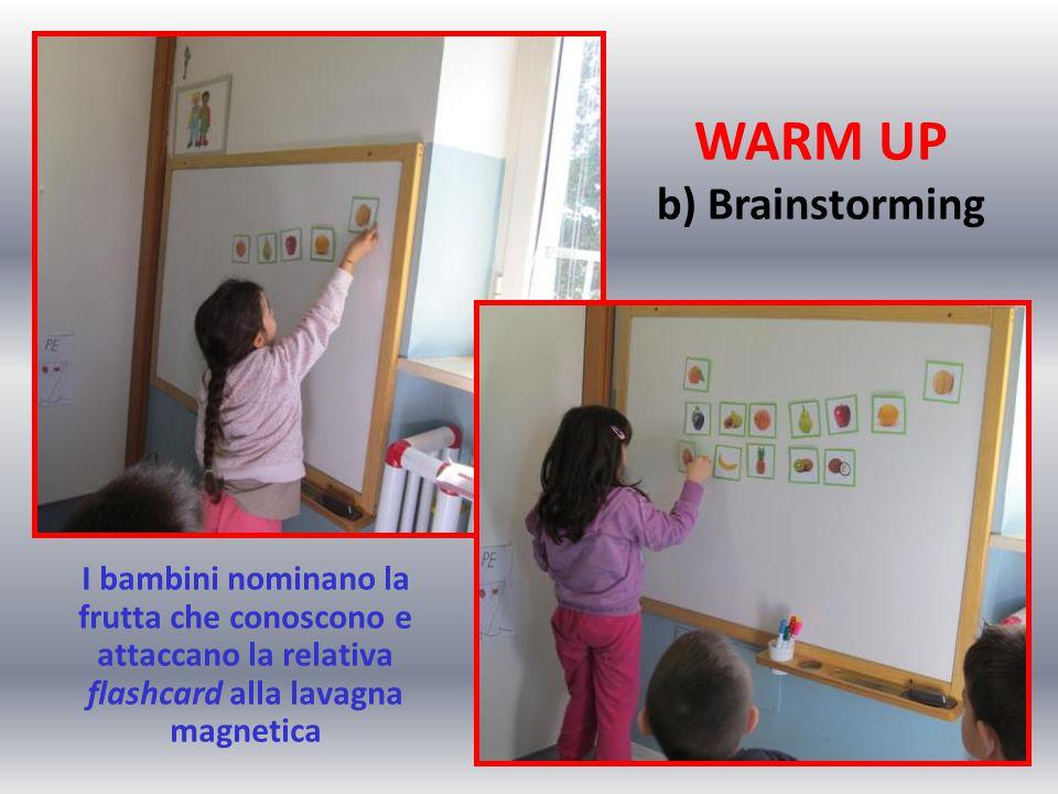 WARM UP b) Brainstorming I bambini nominano la frutta che conoscono e attaccano la relativa flashcard alla lavagna magnetica