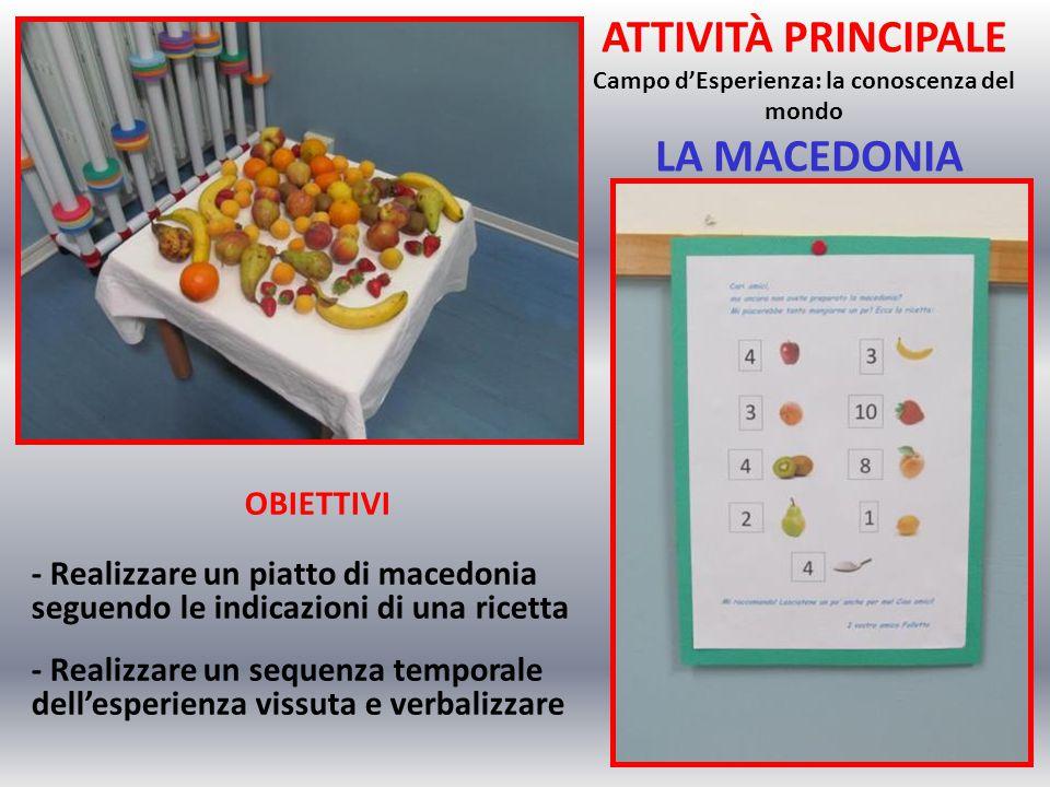 ATTIVITÀ PRINCIPALE Campo d'Esperienza: la conoscenza del mondo LA MACEDONIA OBIETTIVI - Realizzare un piatto di macedonia seguendo le indicazioni di una ricetta - Realizzare un sequenza temporale dell'esperienza vissuta e verbalizzare