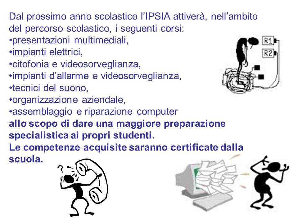 Dal prossimo anno scolastico l'IPSIA attiverà, nell'ambito del percorso scolastico, i seguenti corsi: presentazioni multimediali, impianti elettrici,