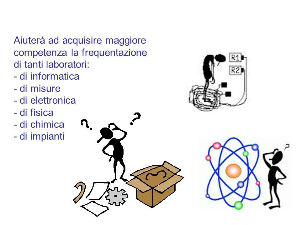 Aiuterà ad acquisire maggiore competenza la frequentazione di tanti laboratori: - di informatica - di misure - di elettronica - di fisica - di chimica
