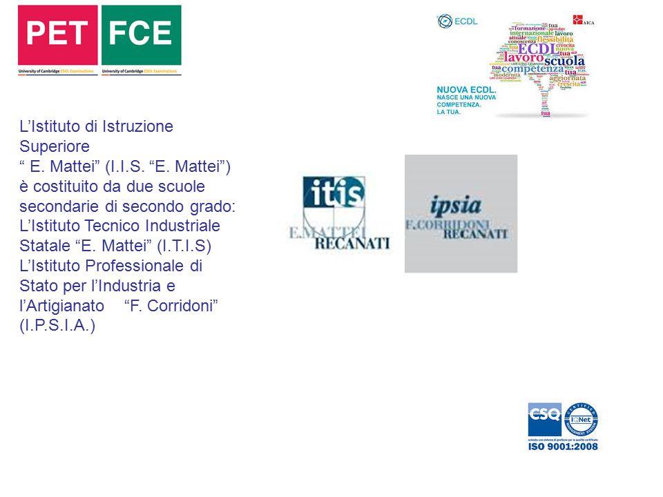 """L'Istituto di Istruzione Superiore """" E. Mattei"""" (I.I.S. """"E. Mattei"""") è costituito da due scuole secondarie di secondo grado: L'Istituto Tecnico Indust"""