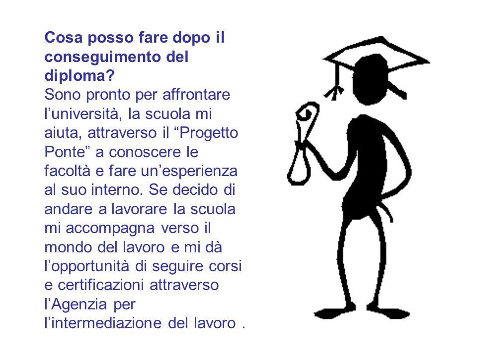 """Cosa posso fare dopo il conseguimento del diploma? Sono pronto per affrontare l'università, la scuola mi aiuta, attraverso il """"Progetto Ponte"""" a conos"""