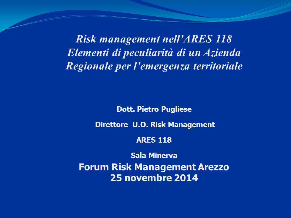 Risk management nell'ARES 118 Elementi di peculiarità di un Azienda Regionale per l'emergenza territoriale Dott. Pietro Pugliese Direttore U.O. Risk M