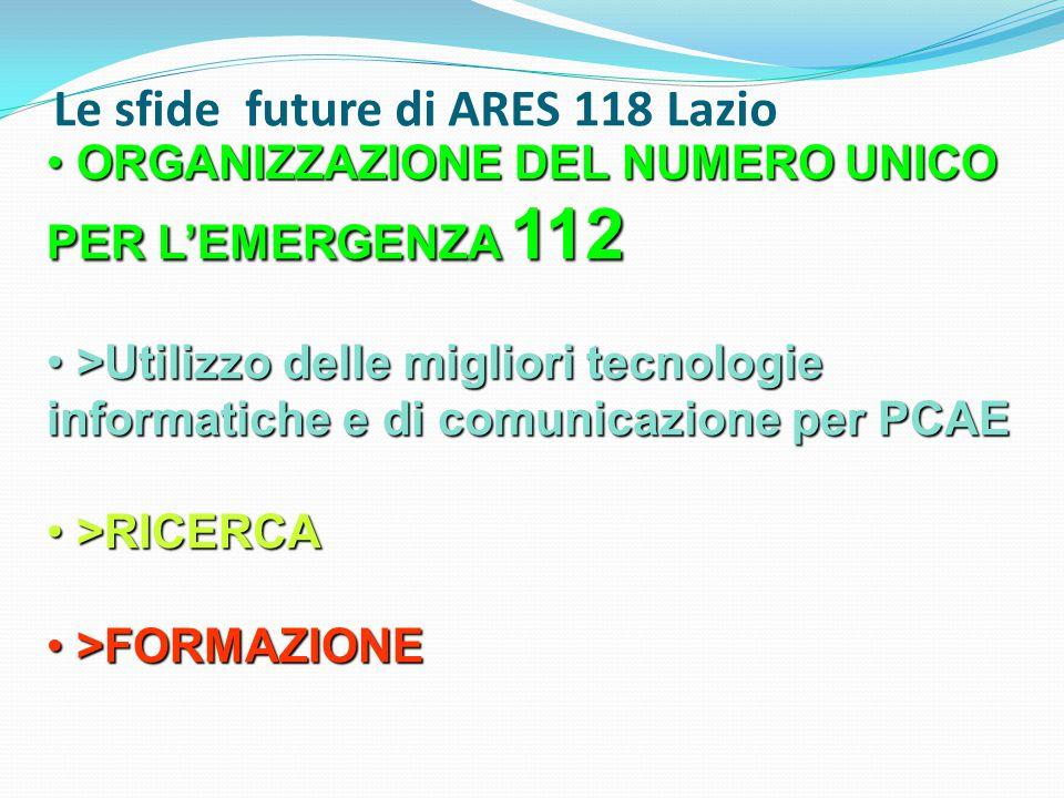 Le sfide future di ARES 118 Lazio ORGANIZZAZIONE DEL NUMERO UNICO PER L'EMERGENZA 112 ORGANIZZAZIONE DEL NUMERO UNICO PER L'EMERGENZA 112 >Utilizzo de