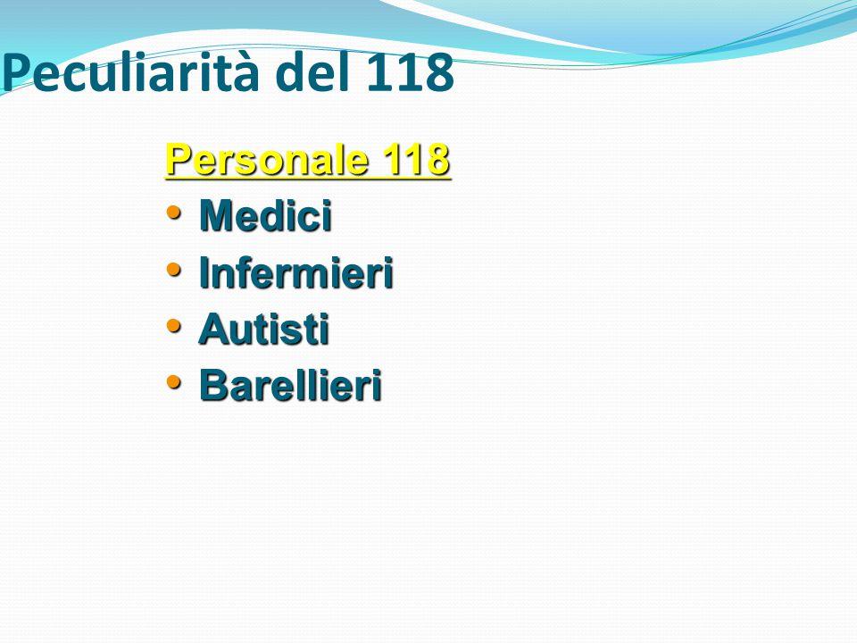 Personale 118 Medici Medici Infermieri Infermieri Autisti Autisti Barellieri Barellieri Peculiarità del 118