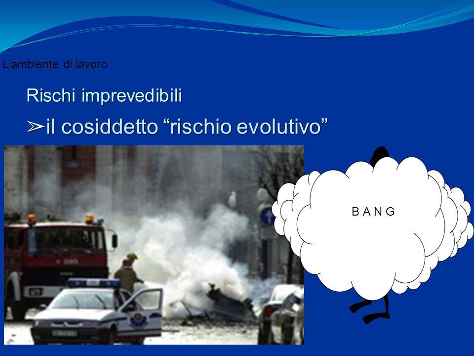 """L'ambiente di lavoro Rischi imprevedibili ➢ il cosiddetto """"rischio evolutivo"""" B A N G"""