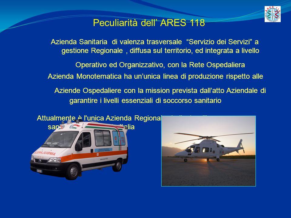 """Peculiarità dell' ARES 118 Azienda Sanitaria di valenza trasversale """"Servizio dei Servizi"""" a gestione Regionale, diffusa sul territorio, ed integrata"""
