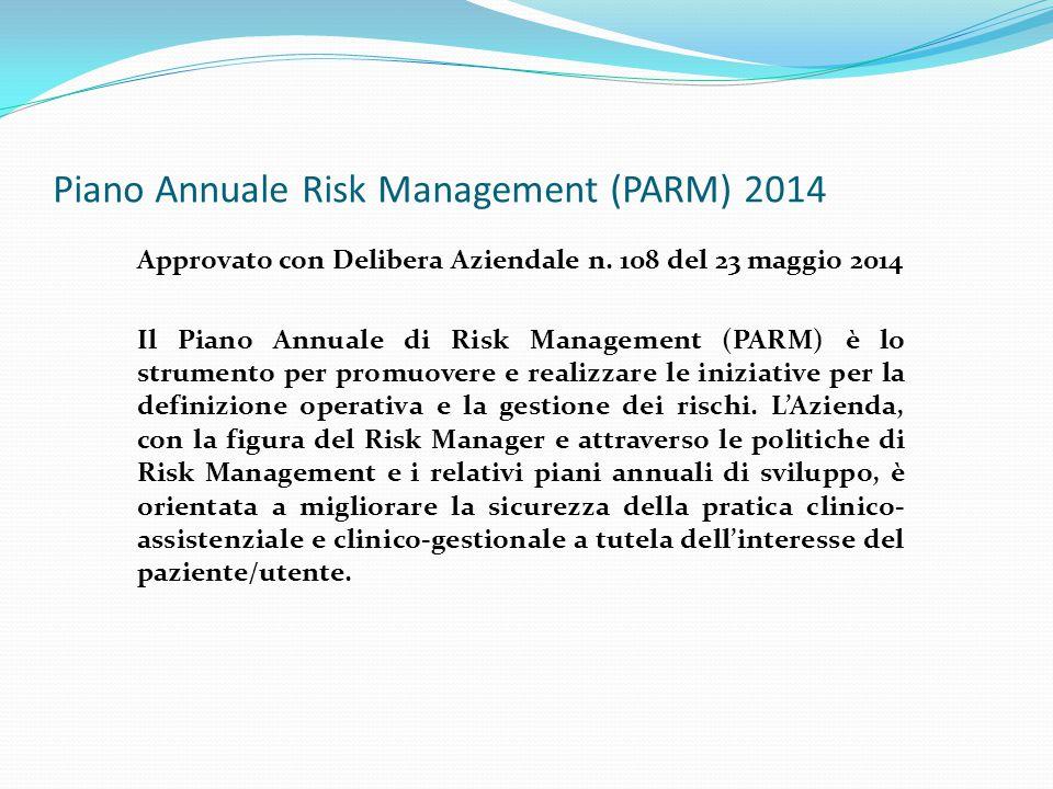 Piano Annuale Risk Management (PARM) 2014 Approvato con Delibera Aziendale n. 108 del 23 maggio 2014 Il Piano Annuale di Risk Management (PARM) è lo s