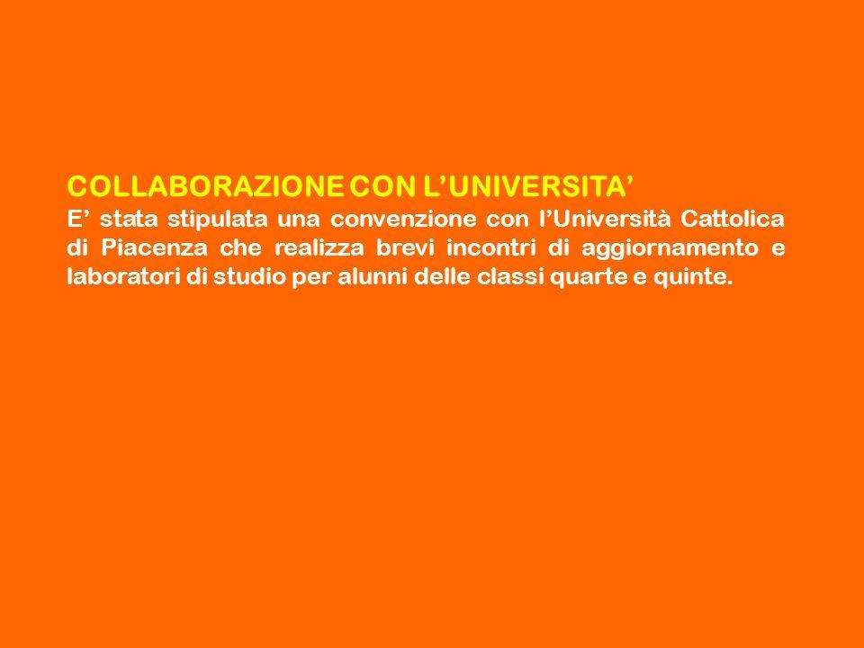 COLLABORAZIONE CON L'UNIVERSITA' E' stata stipulata una convenzione con l'Università Cattolica di Piacenza che realizza brevi incontri di aggiornament