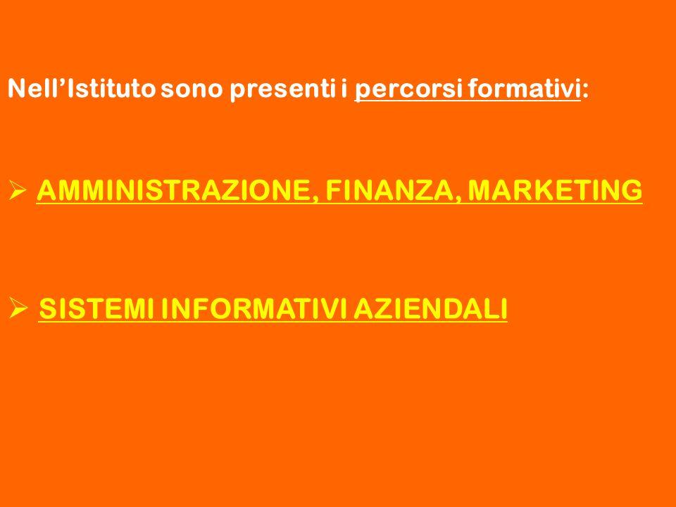 Nell'Istituto sono presenti i percorsi formativi:  AMMINISTRAZIONE, FINANZA, MARKETING  SISTEMI INFORMATIVI AZIENDALI