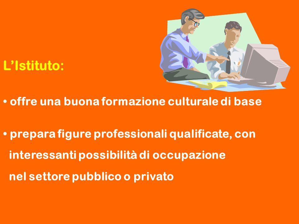 L'Istituto: offre una buona formazione culturale di base prepara figure professionali qualificate, con interessanti possibilità di occupazione nel set