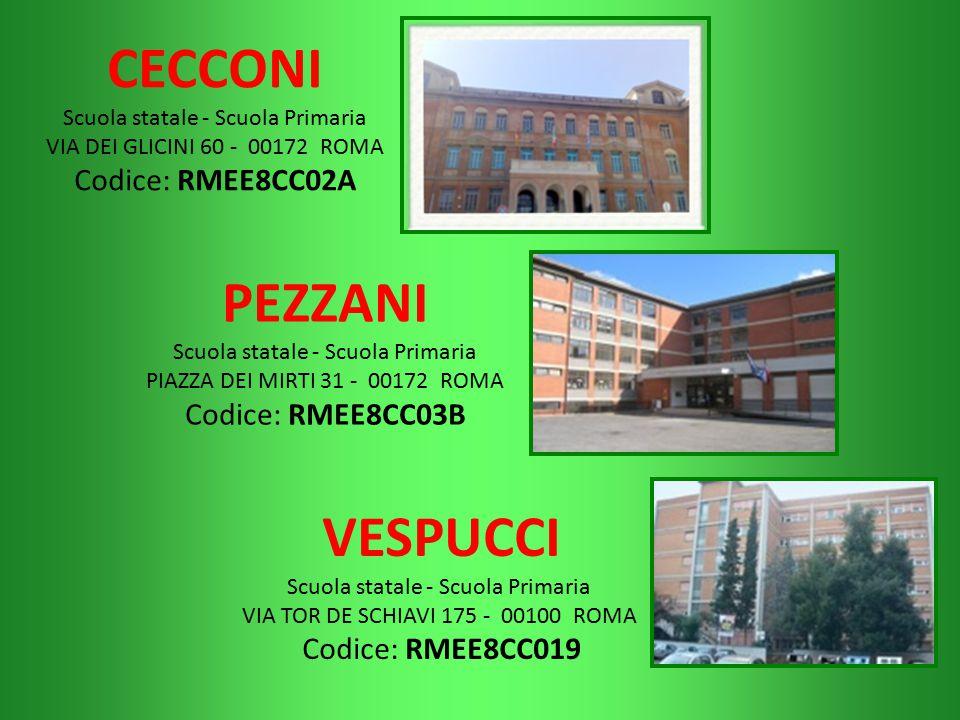 CECCONI Scuola statale - Scuola Primaria VIA DEI GLICINI 60 - 00172 ROMA Codice: RMEE8CC02A PEZZANI Scuola statale - Scuola Primaria PIAZZA DEI MIRTI
