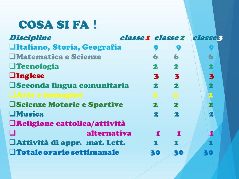 COSA SI FA ! Discipline classe 1 classe 2 classe 3  Italiano, Storia, Geografia 9 9 9  Matematica e Scienze 6 6 6  Tecnologia 2 2 2  Inglese 3 3 3