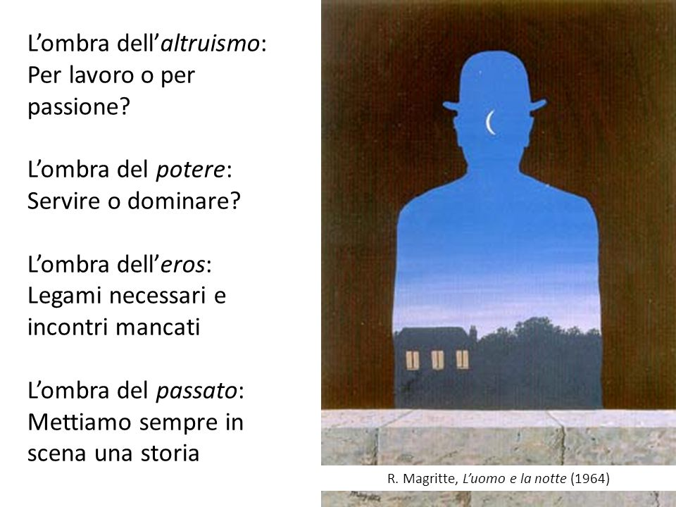 R. Magritte, L'uomo e la notte (1964) L'ombra dell'altruismo: Per lavoro o per passione? L'ombra del potere: Servire o dominare? L'ombra dell'eros: Le