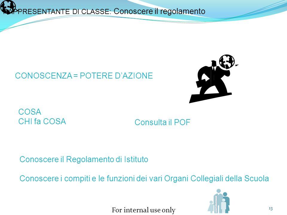 For internal use only 13 RAPPRESENTANTE DI CLASSE: Conoscere il regolamento CONOSCENZA = POTERE D'AZIONE COSA CHI fa COSA Consulta il POF Conoscere il