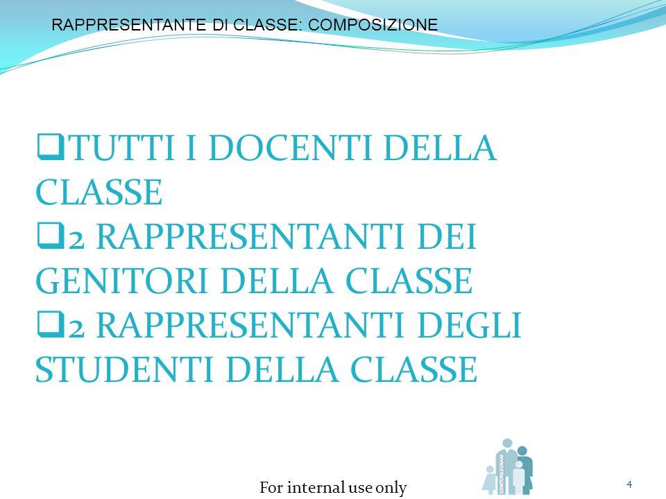 For internal use only 4 RAPPRESENTANTE DI CLASSE: COMPOSIZIONE  TUTTI I DOCENTI DELLA CLASSE  2 RAPPRESENTANTI DEI GENITORI DELLA CLASSE  2 RAPPRES