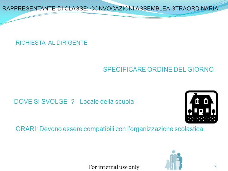 For internal use only 9 SPECIFICARE ORDINE DEL GIORNO RAPPRESENTANTE DI CLASSE: CONVOCAZIONI ASSEMBLEA STRAORDINARIA RICHIESTA AL DIRIGENTE DOVE SI SV