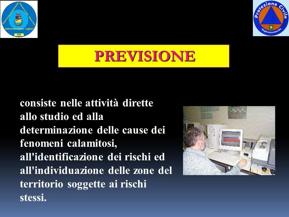 PREVISIONE consiste nelle attività dirette allo studio ed alla determinazione delle cause dei fenomeni calamitosi, all'identificazione dei rischi ed a