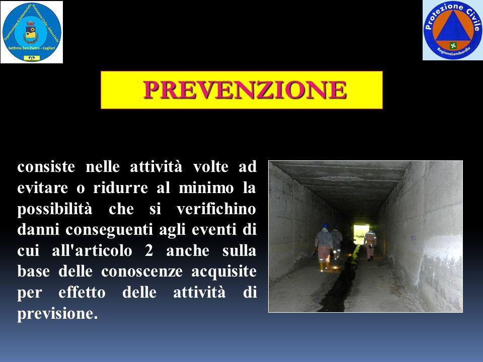PREVENZIONE consiste nelle attività volte ad evitare o ridurre al minimo la possibilità che si verifichino danni conseguenti agli eventi di cui all'ar