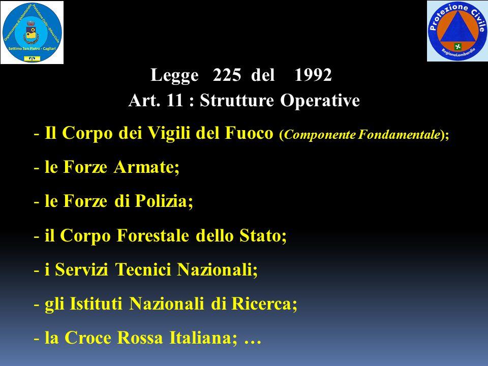 Art. 11 : Strutture Operative - Il Corpo dei Vigili del Fuoco (Componente Fondamentale); - le Forze Armate; - le Forze di Polizia; - il Corpo Forestal
