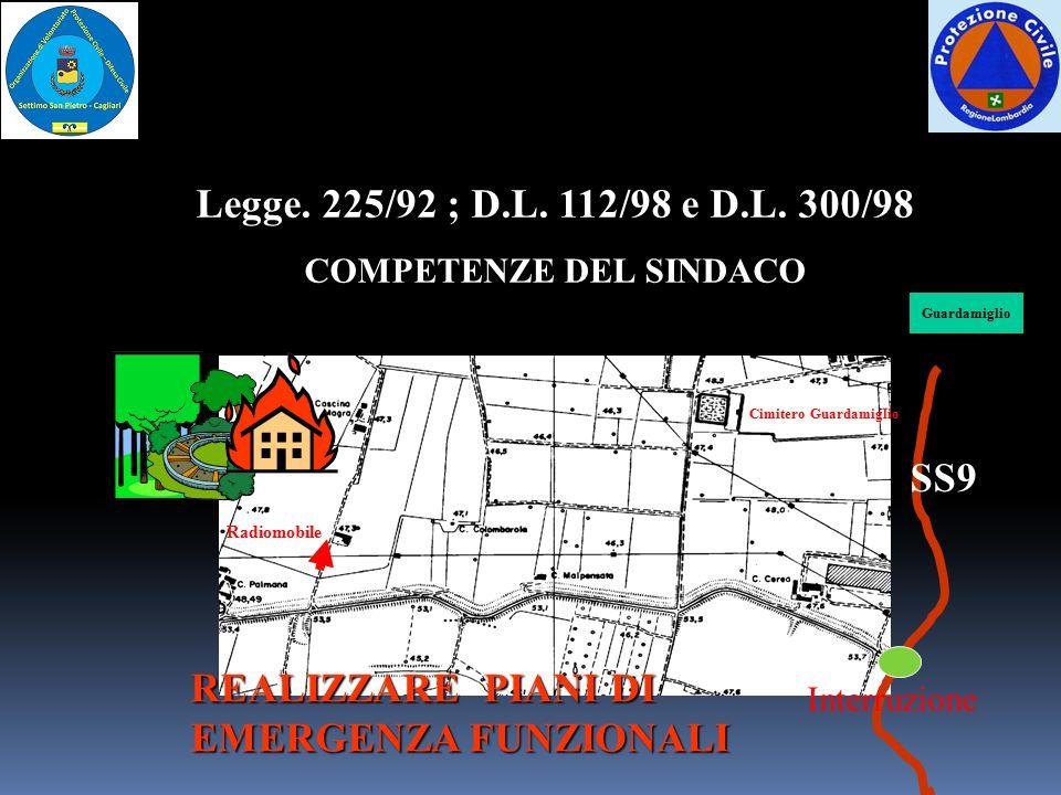 Radiomobile Cimitero Guardamiglio SS9 Interruzione Guardamiglio REALIZZARE PIANI DI EMERGENZA FUNZIONALI Legge. 225/92 ; D.L. 112/98 e D.L. 300/98 COM