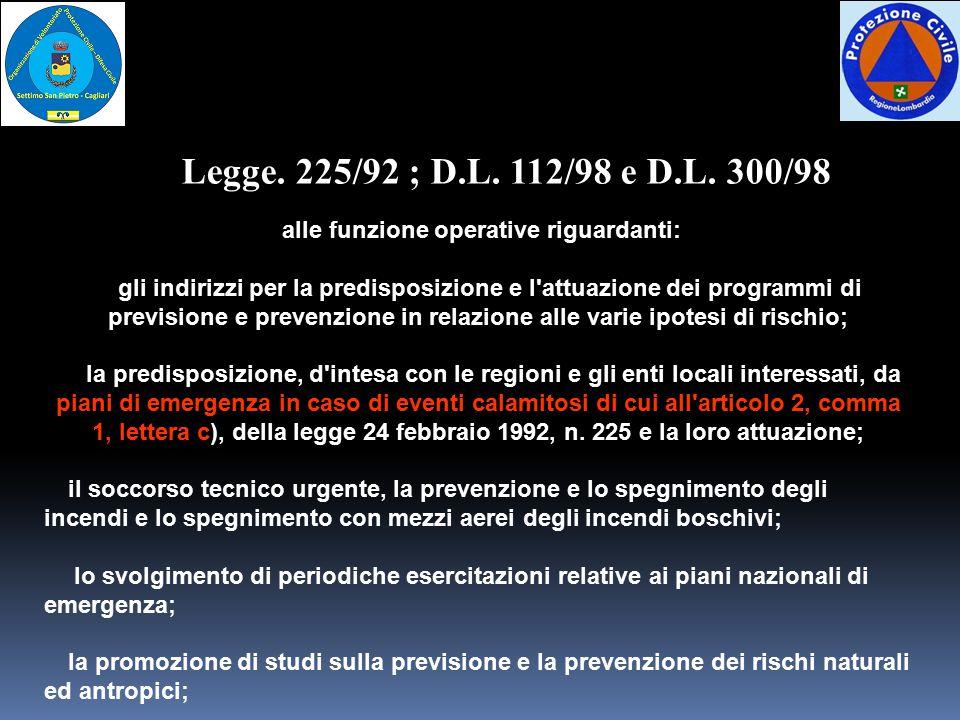 alle funzione operative riguardanti: gli indirizzi per la predisposizione e l'attuazione dei programmi di previsione e prevenzione in relazione alle v