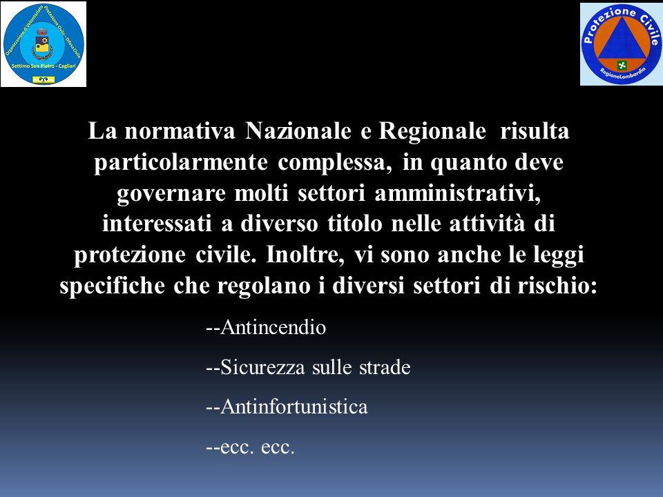 La normativa Nazionale e Regionale risulta particolarmente complessa, in quanto deve governare molti settori amministrativi, interessati a diverso tit