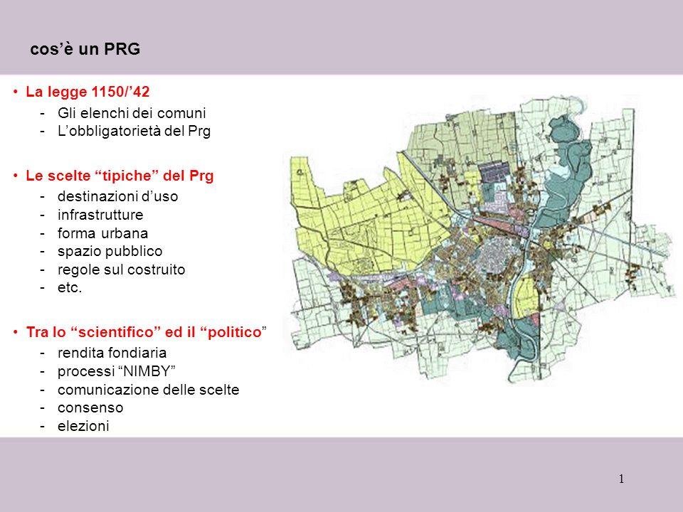 """1 cos'è un PRG La legge 1150/'42 -Gli elenchi dei comuni -L'obbligatorietà del Prg Le scelte """"tipiche"""" del Prg -destinazioni d'uso -infrastrutture -fo"""