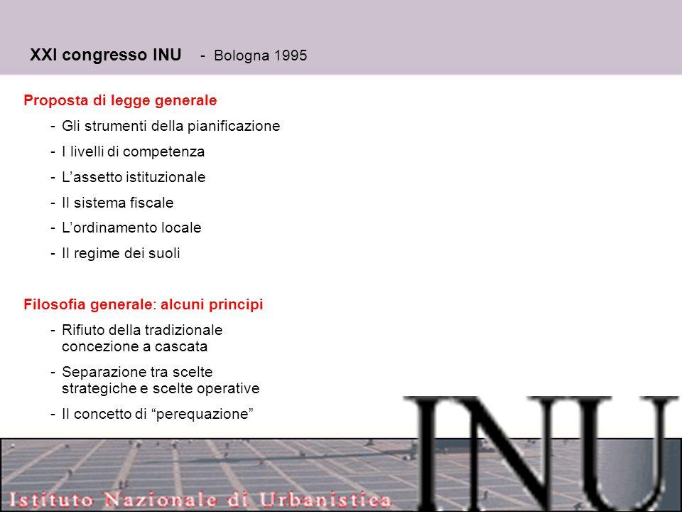 14 XXI congresso INU - Bologna 1995 Proposta di legge generale -Gli strumenti della pianificazione -I livelli di competenza -L'assetto istituzionale -