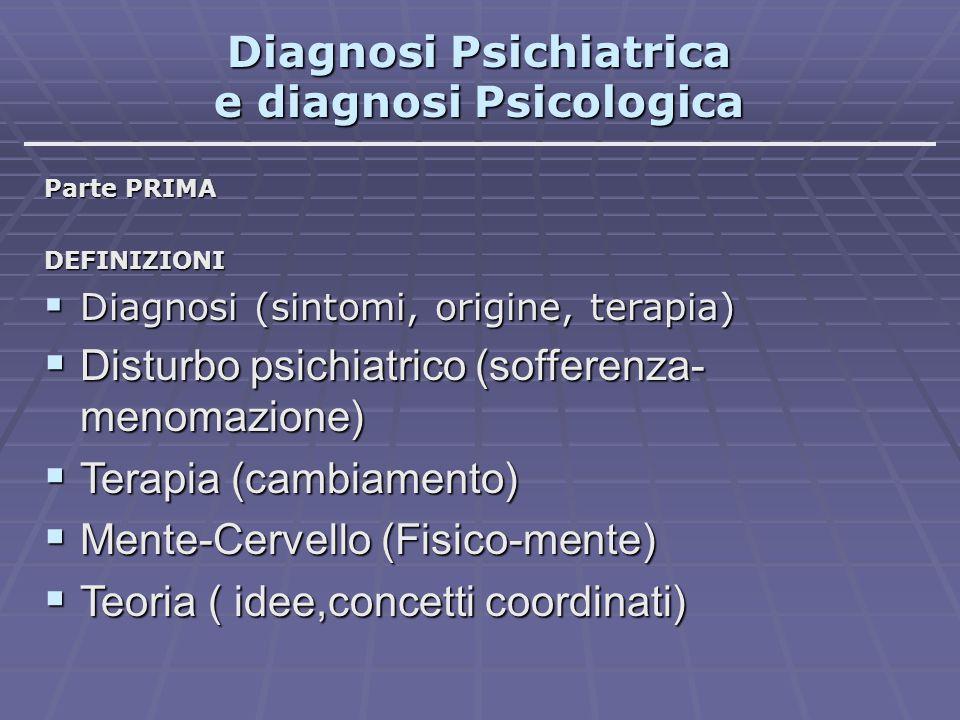 Diagnosi Psichiatrica e diagnosi Psicologica Parte PRIMA DEFINIZIONI  Diagnosi (sintomi, origine, terapia)  Disturbo psichiatrico (sofferenza- menom