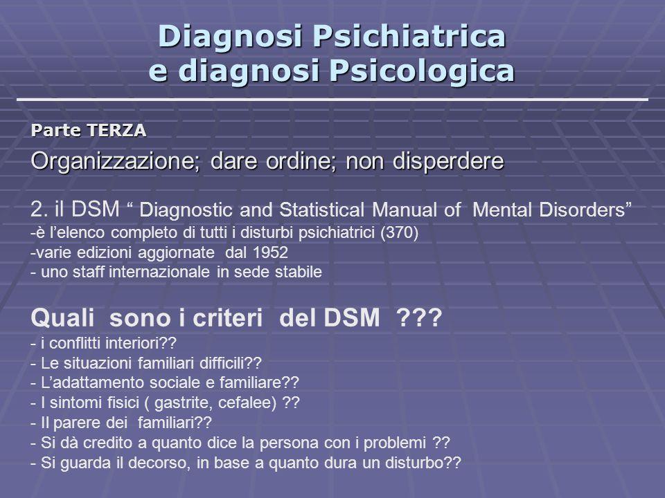"""Diagnosi Psichiatrica e diagnosi Psicologica Parte TERZA Organizzazione; dare ordine; non disperdere 2. il DSM """" Diagnostic and Statistical Manual of"""