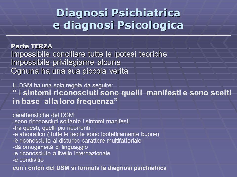 Diagnosi Psichiatrica e diagnosi Psicologica Parte TERZA Impossibile conciliare tutte le ipotesi teoriche Impossibile privilegiarne alcune Ognuna ha u