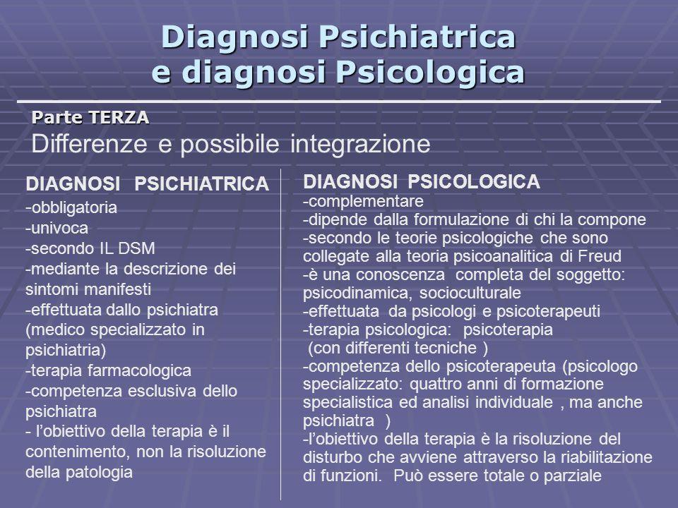 Diagnosi Psichiatrica e diagnosi Psicologica Parte TERZA Differenze e possibile integrazione DIAGNOSI PSICHIATRICA - obbligatoria -univoca -secondo IL