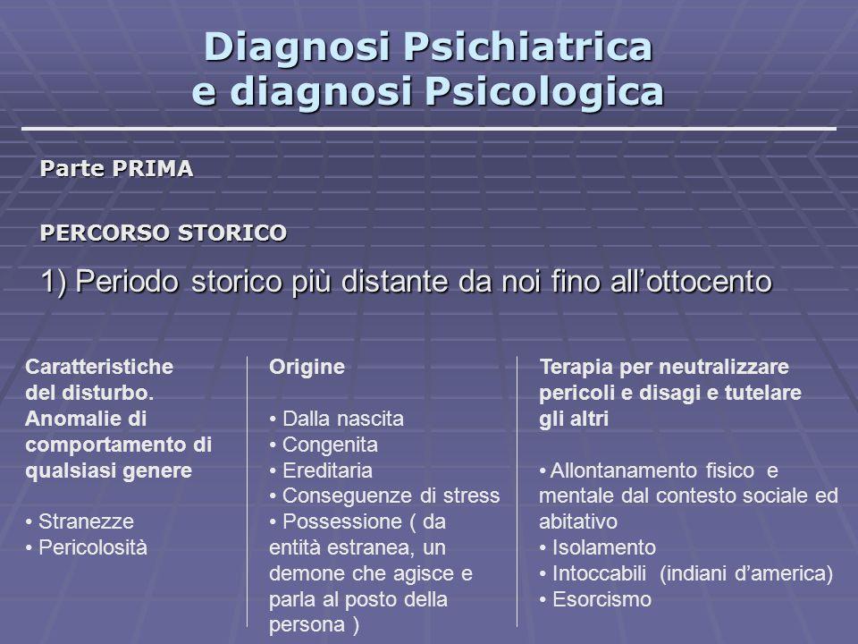 Diagnosi Psichiatrica e diagnosi Psicologica Parte PRIMA PERCORSO STORICO 1) Periodo storico più distante da noi fino all'ottocento Caratteristiche de