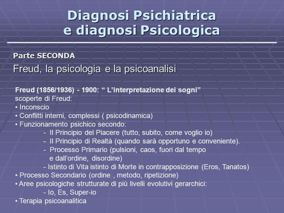 """Diagnosi Psichiatrica e diagnosi Psicologica Parte SECONDA Freud, la psicologia e la psicoanalisi Freud (1856/1936) - 1900: """" L'interpretazione dei so"""