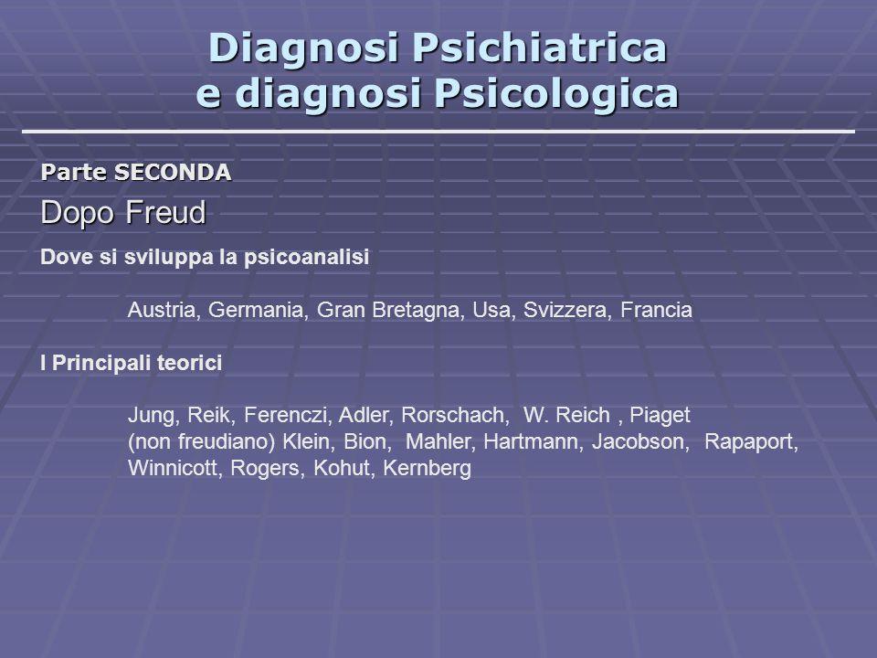 Diagnosi Psichiatrica e diagnosi Psicologica Parte SECONDA Dopo Freud Dove si sviluppa la psicoanalisi Austria, Germania, Gran Bretagna, Usa, Svizzera