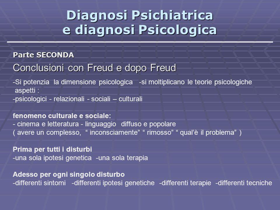 Diagnosi Psichiatrica e diagnosi Psicologica Parte SECONDA Conclusioni con Freud e dopo Freud -Si potenzia la dimensione psicologica -si moltiplicano